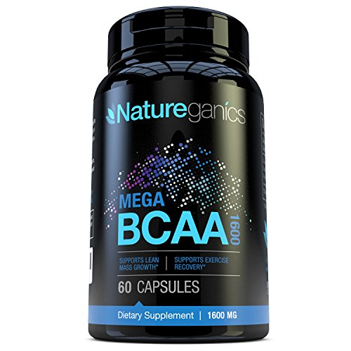Natureganics MEGA BCAA Amino Acids Dietary Supplement, 1600 mg, 60 Capsules (Muscle Accelerator)