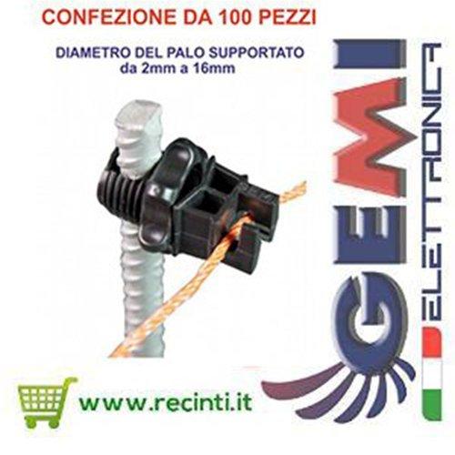 Isolateur pour piquets en fer pour clô ture é lectrique - 100 pieces GEMI www.gemimarket.it