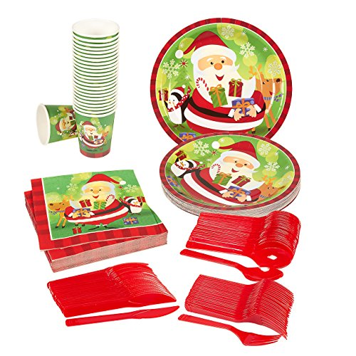 Disposable Dinnerware Set - Serves 24 - Christmas Party Supplies - Holiday Santa Claus Theme Paper Plates, Plastic Knives, Spoons, Forks, Napkins, Cups, Assorted Colors (Santa Claus Colors)