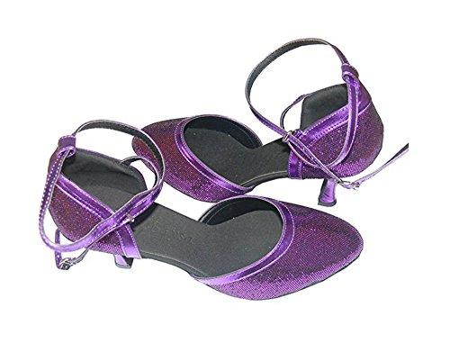 Flash Flash Danse Moderne Rose Bleu Coloré D'eau Chaussures Or Violet Violet Argent Cube De De Ballroom Dames YZFBqO