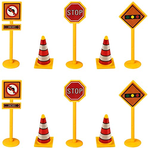 Construction Cupcake Toppers Sign Stop Cone Cake Toppers Construction Toys Picks for Birthday Wedding Baby Shower Construction Theme Party Decorations 25 PCS