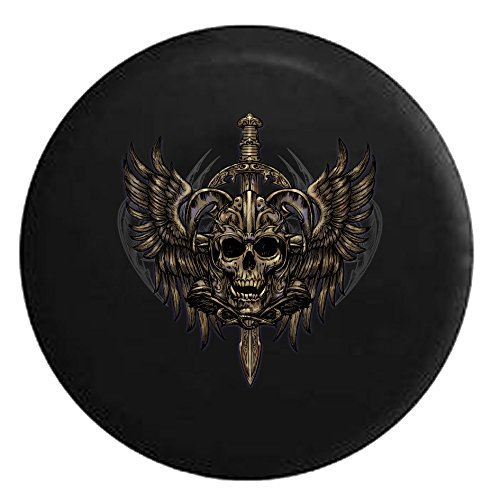 Winged Skull with Sword and Tribal Gothic LookSpare Tire Cover Black 26-27.5 in