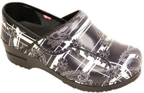 Picture of Sanita Women's Flexible Paisley Patent Clogs,Black,39 M EU / 8-8.5 B(M) US