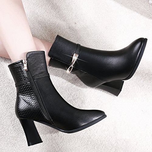 Heeled KHSKX Boots Spring Boots The And With Boots Winter Martin Boots Cashmere Black Single Autumn Female Thick Children And Leather Boots High gqgwzXxr4n