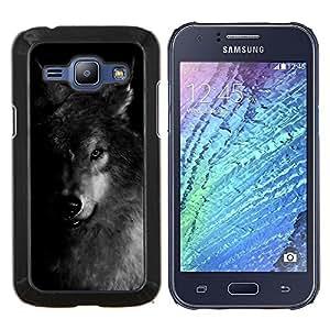EJOOY---Cubierta de la caja de protección para la piel dura ** Samsung Galaxy J1 J100 ** --Perro Negro Blanco Invierno Feral Animal