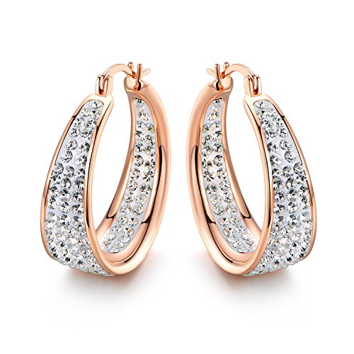 Pori Jewelry 18K Gold plated Stainless Steel Inside & Out Crystal Hoop Earrings-ROSE