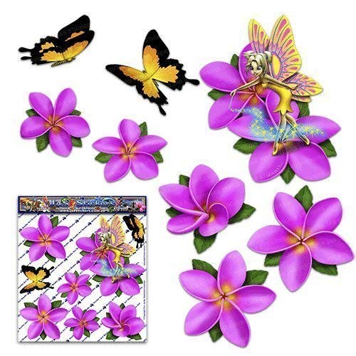 Fantasía de hadas frangipani flor rosado plumeria + mariposa pegatinas de coche animal - ST00062PK_SML - JAS Stickers