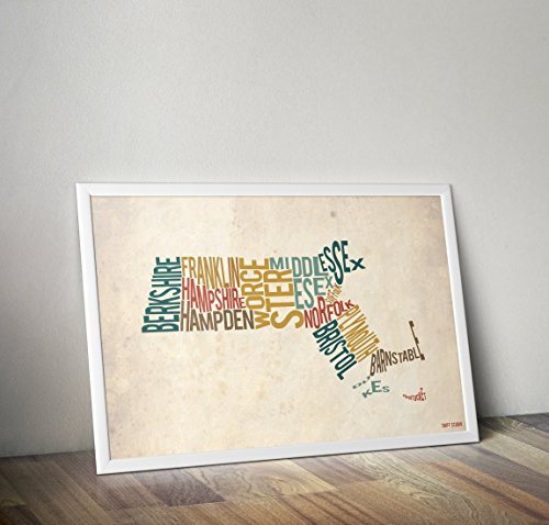 Massachusetts by County - Typography Map Print