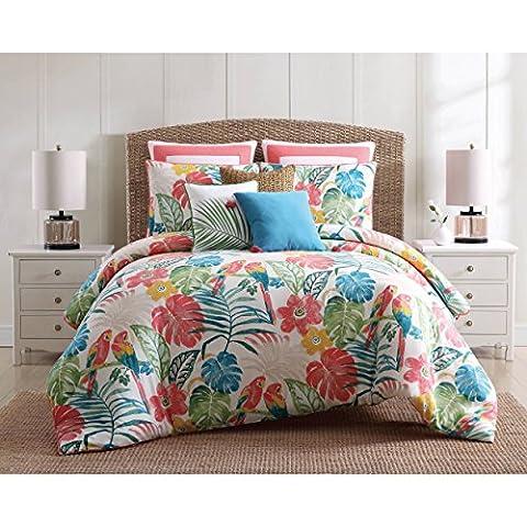 3 Piece Vibrant Green Orange Coastal King Size Duvet Cover Set, Nautical Beach Theme Bedding Tropical Floral Flowers Lake House Cottage Sleek Trendy Beachy, Cotton - Cottage Flower Bedding