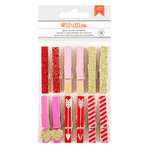 American Crafts Valentine's Glitter & Foil Clothespins 12 - Crafts Cloth American