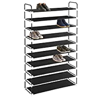 MaidMAX Free Standing Shoe Rack Shoes Organizer in Closet Entryway Hallway, Metal Frame and Fabric Shelve, Black