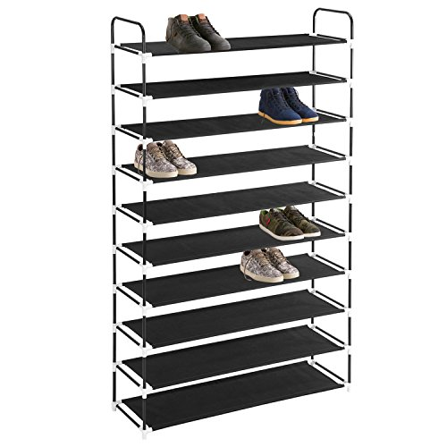 Shoe Storage Tower, MaidMAX 10 Tier Free Standing Fabric Shoe Rack Shelf Organizer for 50 Pairs of Shoes in Closet Entryway Hallway, 39.4 x 11.4 x 68.9'', Black - Tall Shoe Racks