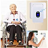Wireless Caregiver Pager Call Button Personal Alert For Home Patient Nurses Seniors Disabilities 2 Receivers & 2 Waterproof Transmitters