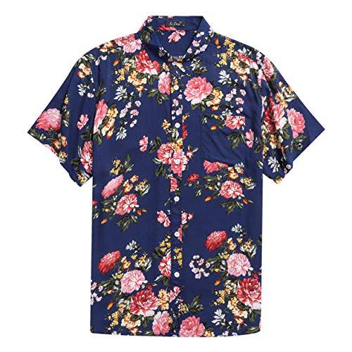 Men's Hawaiian Short Sleeve Shirt- MCEDAR Aloha Flower Print Casual Button Down Standard Fit Beach Shirts (Small, BLUE 48551)