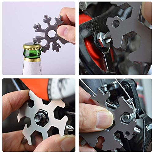 18-in-1 Snowflake Multi-Tool, Stainless Steel Screwdriver Opener Combination Compact Portable Outdoor Products Tool Card Keychain Bottle Opener