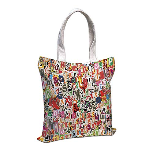 Tote Bag, Old Newspaper Decor,Various Kinds Newpaper Magazine Letters Cutouts Alphabet Collection Decorative,Multicolor Shopping Camping School Casual Pocket ()
