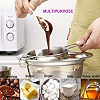 Double Boiler Pots for Chocolate Melting Double Boiler Pot Stainless Steel for Soap Making Double Boiler Pots for Candle Chocolates Universal Melting Pot Bowl with Spout Soap for Candy Steamer