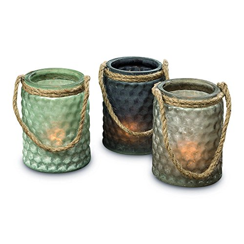 The Boat Yard Rope Hurricane Lamps, Set of 3, Shabby Weathered Blue, Lavender, and Gray, Candle Holders, Milky Hobnail Glass, For LED or Wax Votive Tealights, Wind Lights, 4 L (Blue Glass Hobnail)