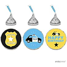 Andaz Press Birthday Chocolate Drop Labels Trio, Fits Hershey's Kisses Party Favors, Police Car and Badge, 216-Pack