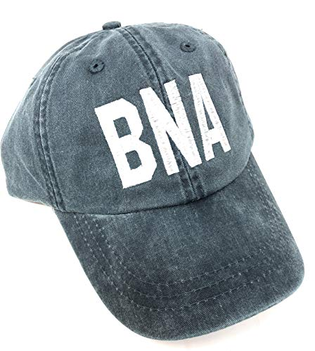 Custom Embroidered BNA Nashville International Airport Code Baseball Hat (Pigment Dyed Navy with White Lettering)