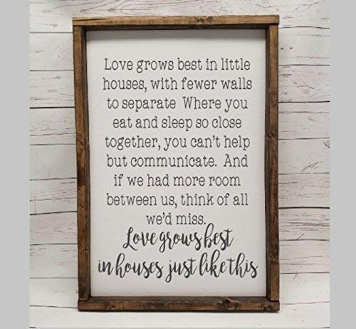 Love grows best in little houses, full quote Sign, Farmhouse style, chunky framed sign. scrabble tile, handpainted sign, choice of sign style (Full House Signs)