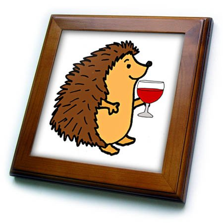 3dRose Fun Cool Hedgehog Drinking Red Wine Cartoon Framed Tile, 8 x 8