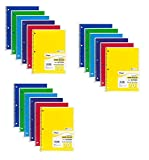 Mead Spiral Notebooks, 1 Subject, Wide Ruled Paper, 70 Sheets, 10-1/2'' x 7-1/2'', Assorted Colors, 18 Pack (73699)