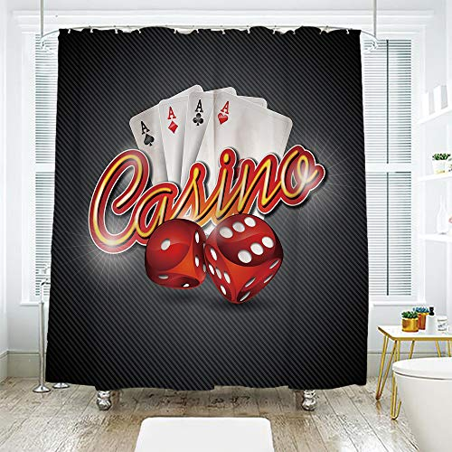 scocici DIY Bathroom Curtain Personality Privacy Convenience,Poker Tournament Decorations,Vibrant Dices and Playing Card Casino Theme Luck Risky Game,Multicolor,78.7