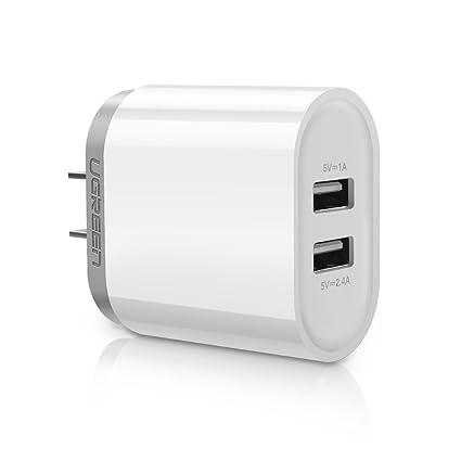 19acb714931 Cargador de Celular, UGREEN Cargador de Pared con Doble USB 3.4A (2.4A +  1A) para iPhone XS X XR ...