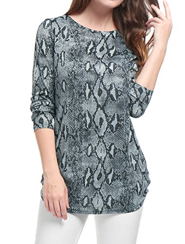 Allegra K Women's Printed Round Neck Long Sleeves Loose Tunic Knitted Top Gray L (US ()