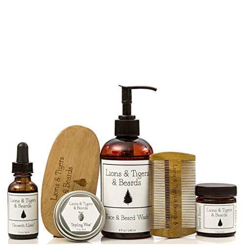Beard Grooming ''Bundle'' - Includes Beard Oil - Beard Balm - Face and Beard Wash - Mustache Wax - Premium Sandalwood Comb & Brush - All Natural - Organic Ingredients by Lions & Tigers & Beards