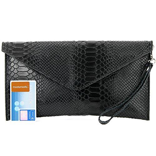 Evening bag underarm Clutch Leather bag Black Wrist T106S Wrist modamoda bag de leather ital bag bag Smooth EXIYqEAn0w