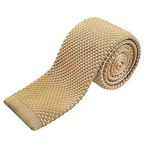 Alizeal Smart Casual Men's 2 inches Skinny Knit Tie Necktie for Groom, Champagne
