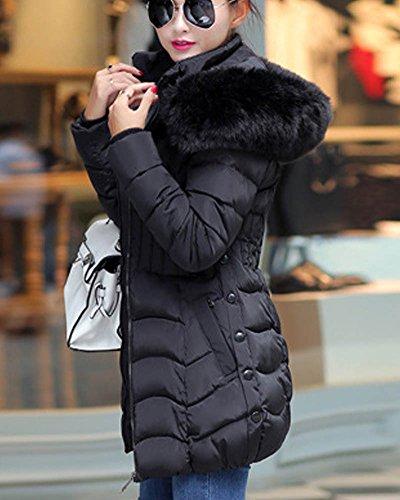 Hiver Fourrure SaiDeng Blouson Fit Manteau Noir Longue Capuche Veste Femme Artificiel Parka Slim Xq18fX