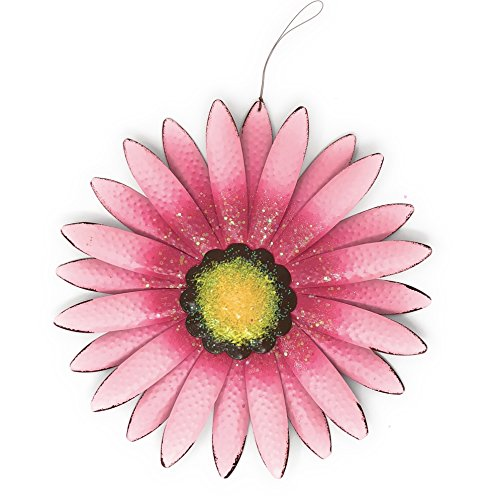 Metal Wall Art Decor Nature Inspired Flower Sculptures For Indoor Outdoor (Pink)