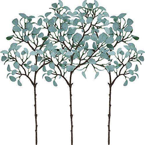 Supla 3 Pack Faux Eucalyptus Leaves Greenery Stems Atificial Eucalyptus Sprigs Small Eucalyptus Leave Plant Branches in Blue 21.3