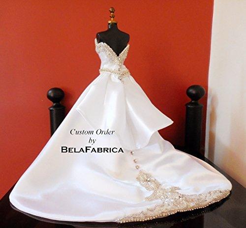 handmade wedding gown custom miniature replica bridal shower gift wedding centerpiece showpiece 16 scale