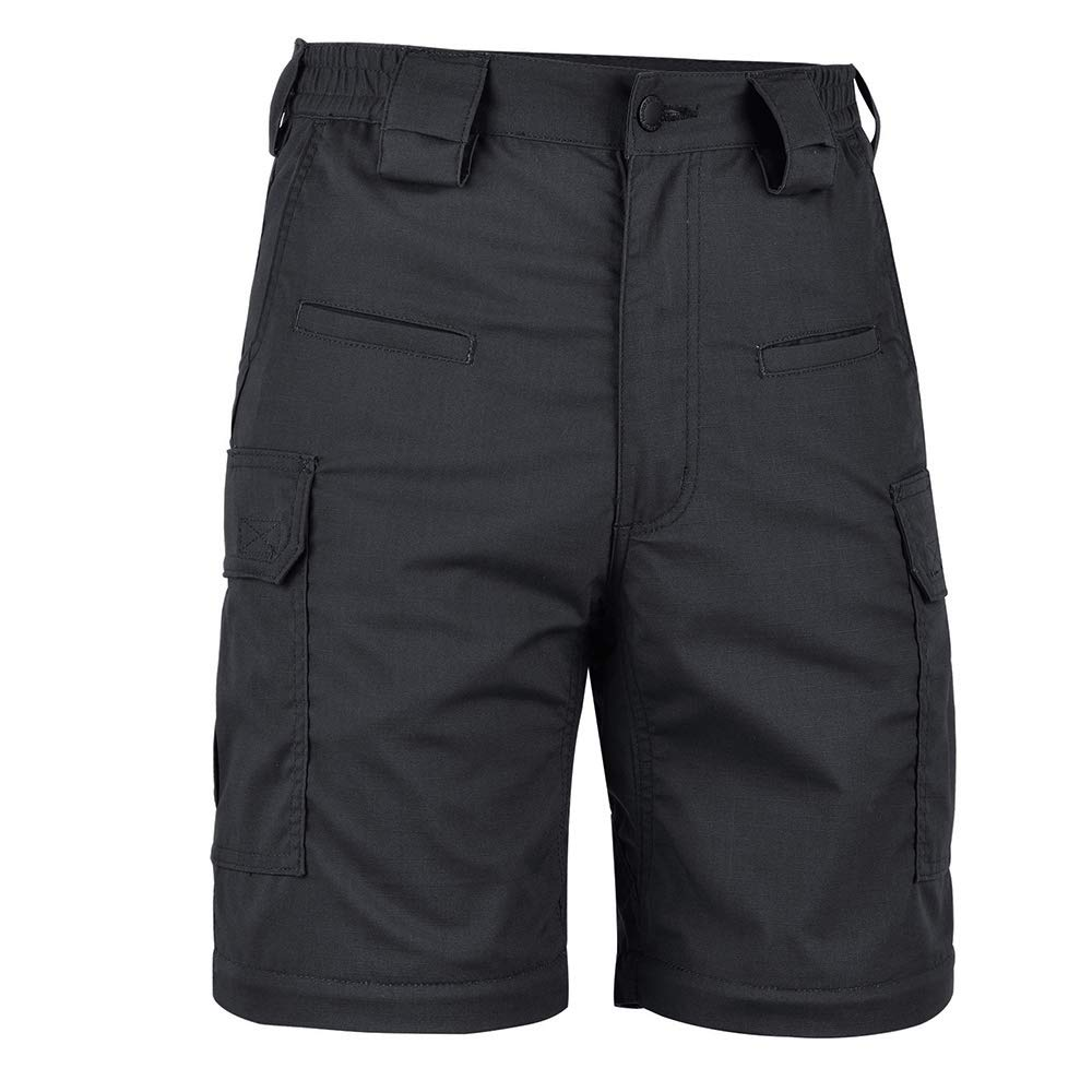 HARD LAND Mens 10'' Cargo Work Shorts Relaxed Fit Waterproof Ripstop Tactical Shorts Elastic Waist Outdoor Hiking Charcoal Grey Waist 36