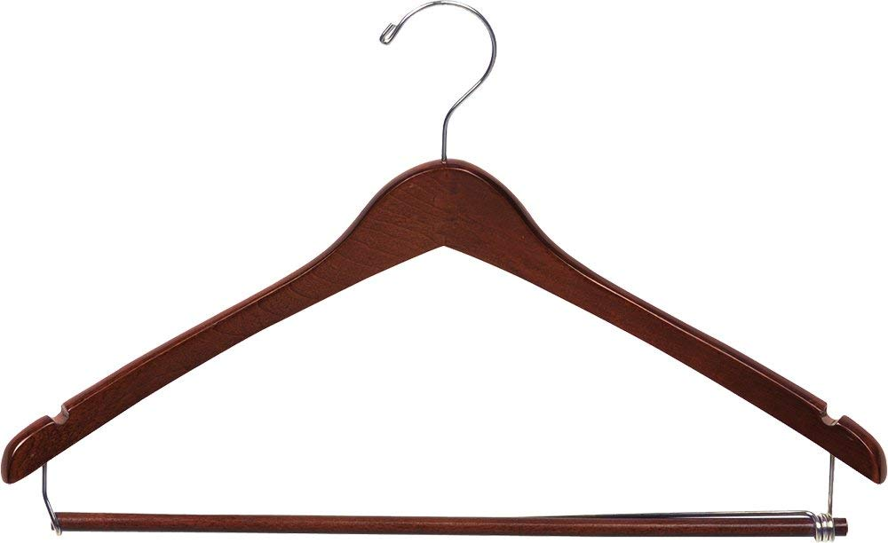The Great American Hanger Company Curved Wood Suit Hanger w/Locking Bar, Box of 50 17 Inch Hangers w/Walnut Finish & Chrome Swivel Hook & Notches for Shirt Dress or Pants
