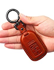 Tukellen for Honda Leather Key Fob Cover with Keychain Key Shell
