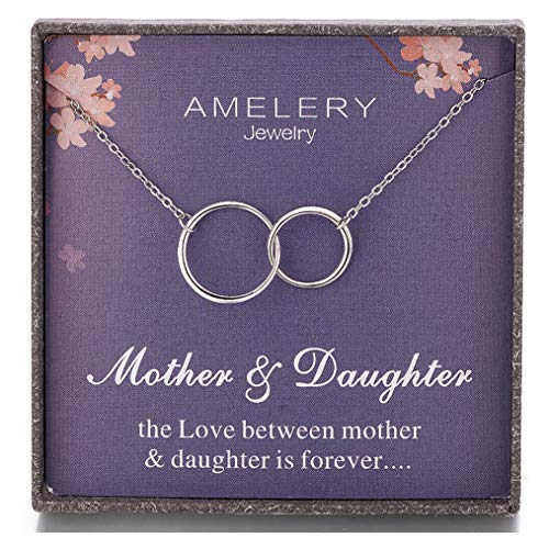 Mother Necklace Silver Mothers Necklace - Amelery Gifts for Mother Daughter Necklace Sterling Silver Two Interlocking Infinity 2 Circles Pendants, Mothers Day Jewelry Birthday Gift