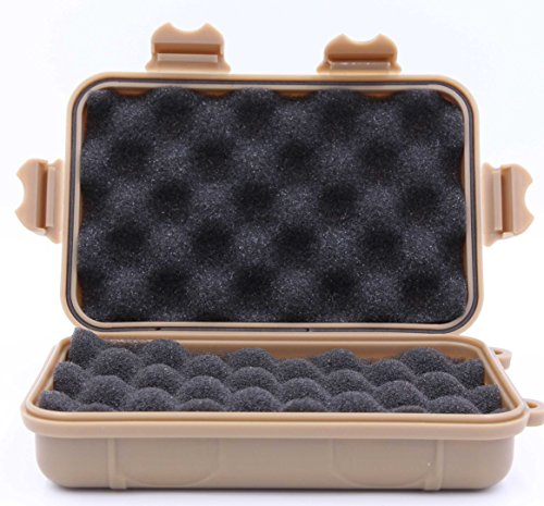 Anti-Pressure Shockproof Box- LeBeila Waterproof Container Plastic Dry Storage Box With Foam Floating Survivor Dry Case For Outdoors (khaki, Large)