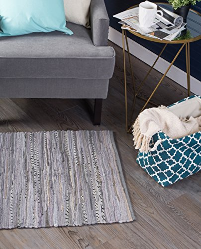 DII Contemporary Reversible Floor Rug Bathroom, Living Room, Kitchen, or Laundry Room (20x31.5) - Gray