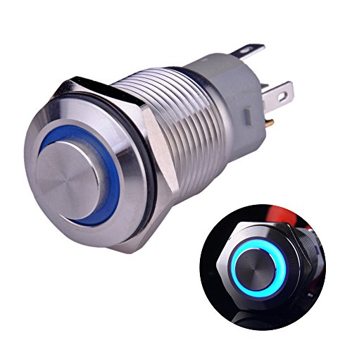 "Ulincos Latching Pushbutton Switch U16F2 1NO1NC SPDT ON/OFF Silver Stainless Steel Shell with Blue LED Ring Suitable for 16mm 5/8"" Mounting Hole (Blue)"