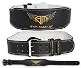 #3: Gym Maniac Weight Lifting Waist Gym Belt | Adjustable Size, 2 Prong Buckle, Comfy Suede, Reinforced Stitching | Support Your Back & Alleviate Pains