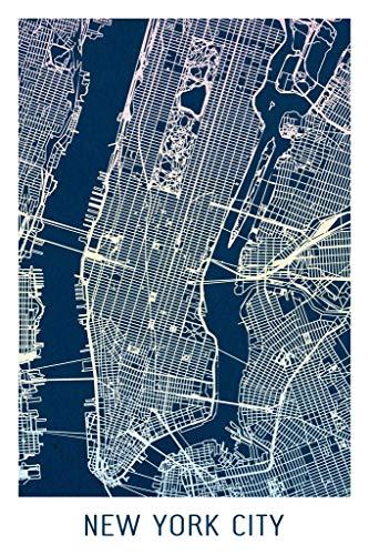 (New York City Colorful Minimalist Art Map Art Poster 24x36 Inch)
