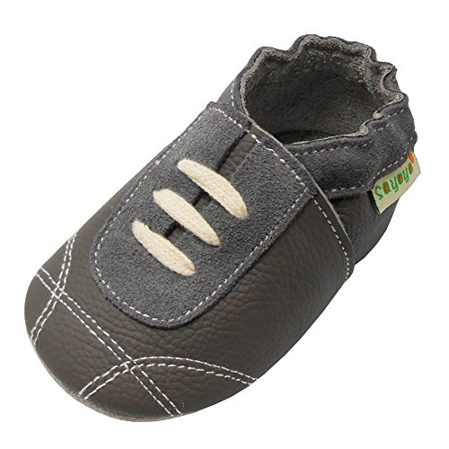- Sayoyo Baby Sneakers Leather Baby Shoes Crib Shoes Toddler Soft Sole Sneakers (6-12 Months, Grey)