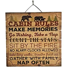 """Cabin Rules Reclaimed Wood Sign, 12"""" x 18"""" Rustic Home Decor Plaque with Hanger bundle sold by Imprints Plus, made by Highland Woodcrafters 48-01616"""