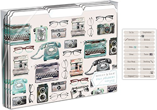 Molly and Rex Vintage Camera File Folders Set of 10