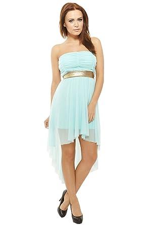 b37648c68e9e Sexy Vokuhila Kleid Partykleid, Abendkleid, Cocktailkleid aus Feintüll,  hellblau mint
